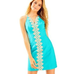 Lilly Pulitzer Pearl Embroidered Blue Shift Dress